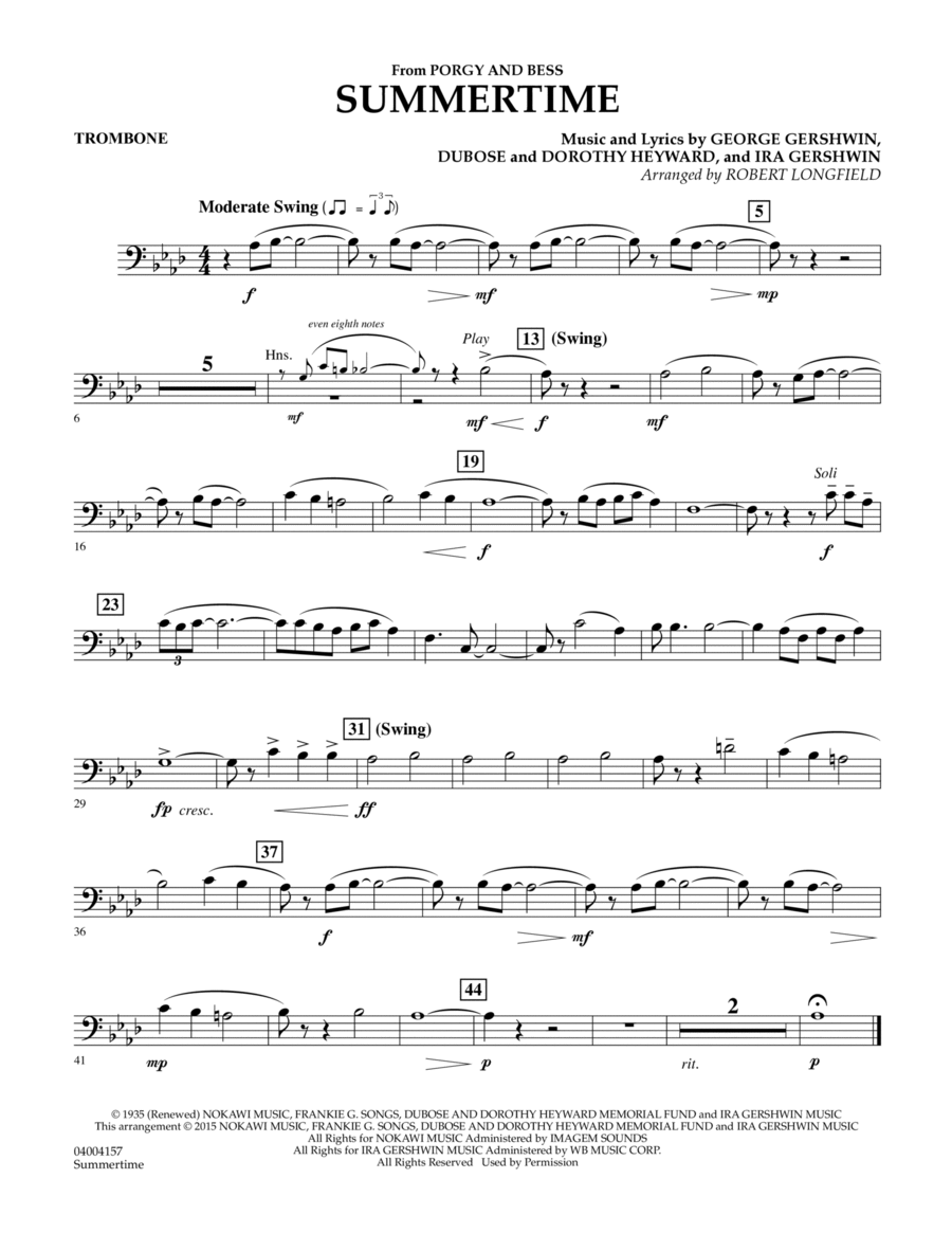 Summertime (from Porgy and Bess) - Trombone