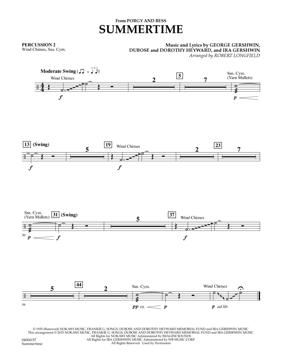 Summertime (from Porgy and Bess) - Percussion 2