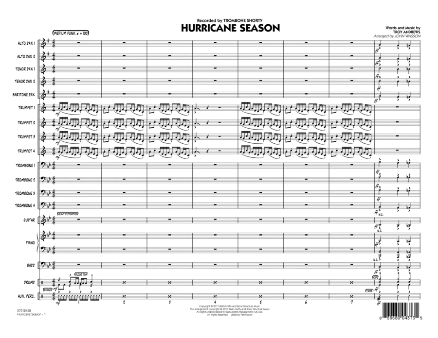 Hurricane Season - Conductor Score (Full Score)