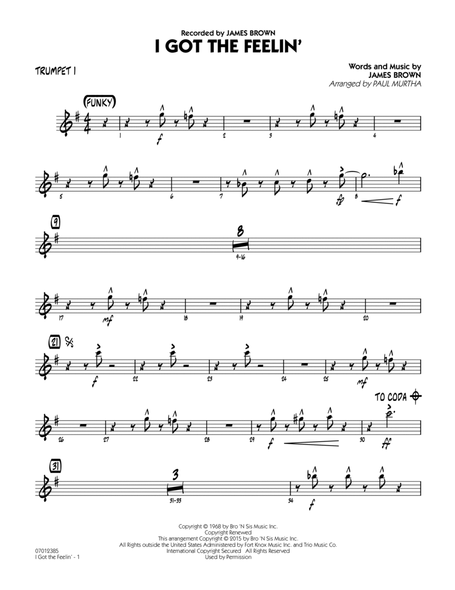 I Got The Feelin' - Trumpet 1