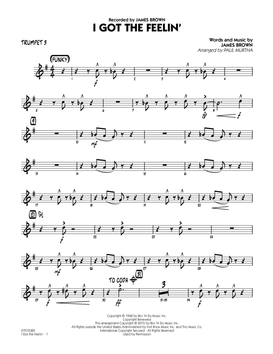 I Got The Feelin' - Trumpet 3