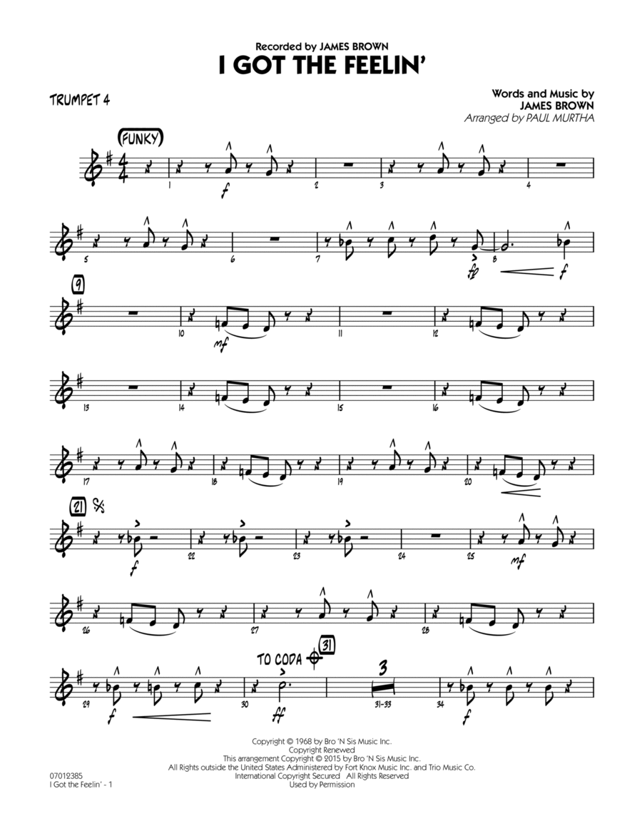 I Got The Feelin' - Trumpet 4