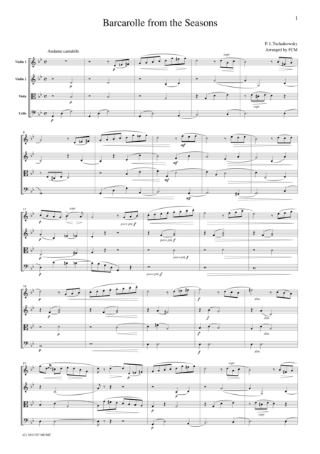 Tchaikowsky Barcarolle from the Seasons, for string quartet, CT014