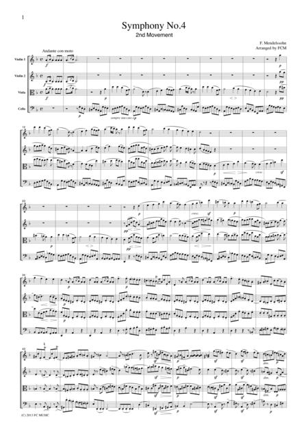Mendelssohn Symphony No.4 2nd mvt, for string quartet, CM203