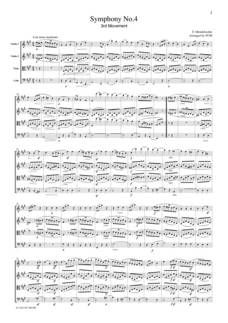 Mendelssohn Symphony No.4 3rd mvt, for string quartet, CM204