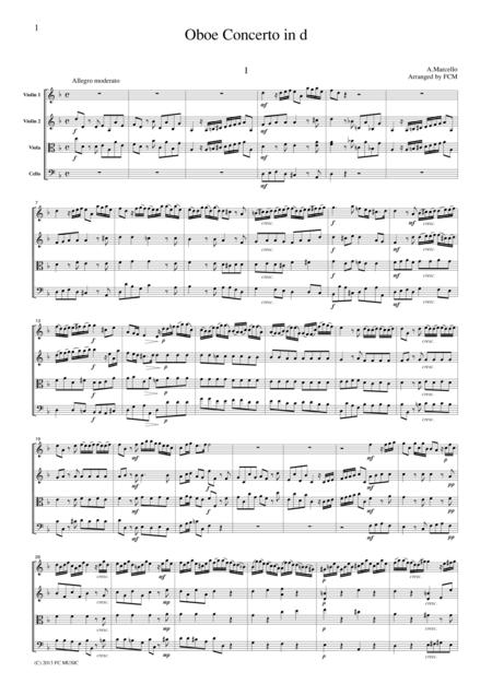 Marcello Oboe Concerto in d, for string quartet, CM601