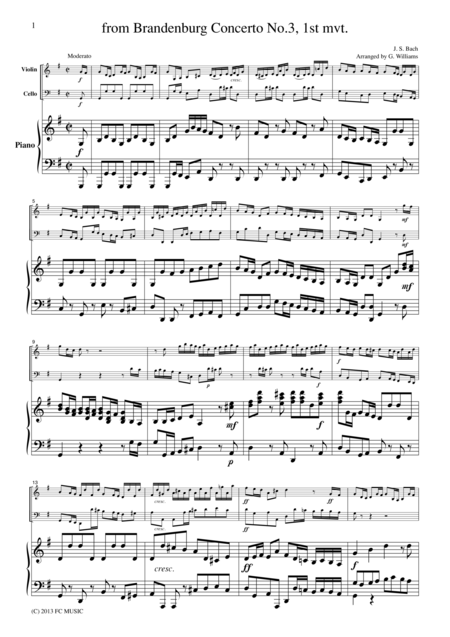 Bach Brandenburg Concerto No.3, 1st mvt., BWV1048, for piano trio, PB005