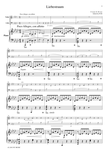 Liszt Liebestraum, for piano trio, PL101