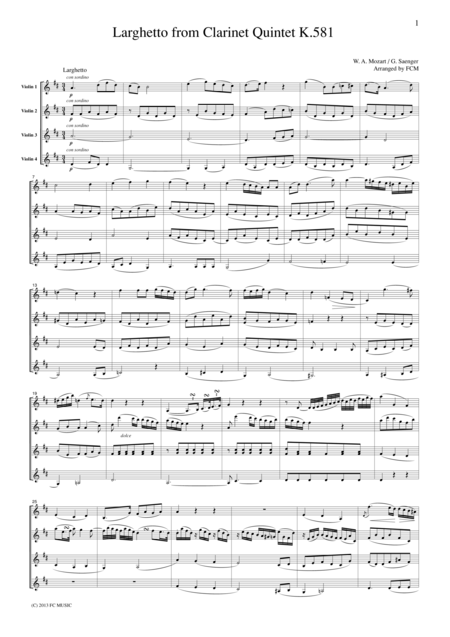 Mozart Larghetto from Clarinet Quintet K.581, for 4 Violins, VN403