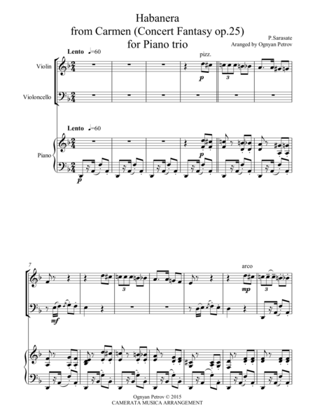 Habanera from Carmen Concert Fantasy op.25 Arranged for Piano trio