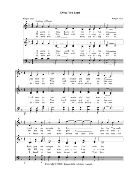 lord i need you sheet music pdf