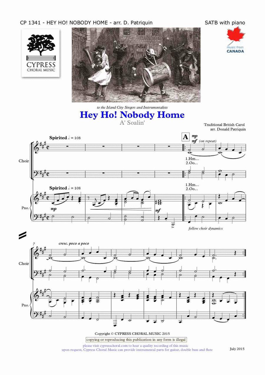 Hey Ho Nobody Home Sheet Music By Donald Patriquin - Sheet