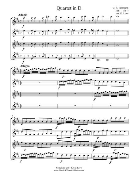 Quartet in D (Guitar Quartet) - Score and Parts
