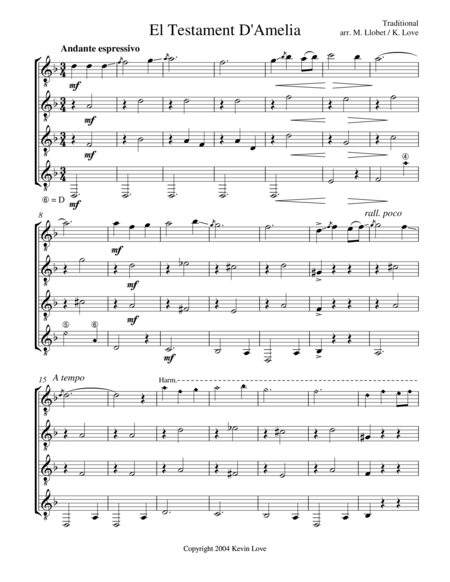 El Testament D'Amelia (Guitar Quartet) - Score and Parts