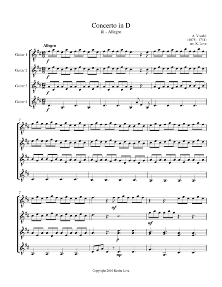 Concerto in D - iii - Allegro (Guitar Quartet) - Score and Parts