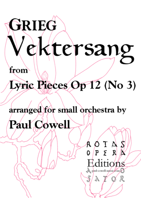 GRIEG Vektersang (Watcher's Song) arranged for small orchestra