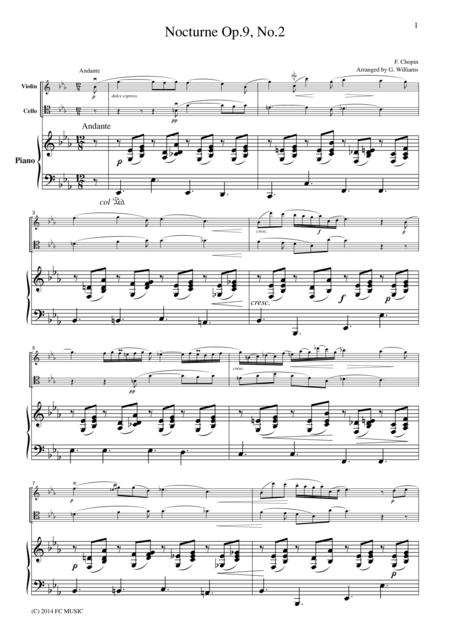 Chopin Nocturne Op.9, No.2, for piano trio, PC102