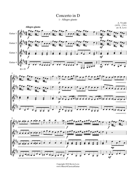Concerto in D - i - Allegro giusto (Guitar Quartet) - Score and Parts