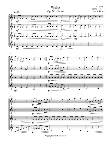 Waltz, Op. 241, No. 44 (Guitar Quartet) - Score and Parts