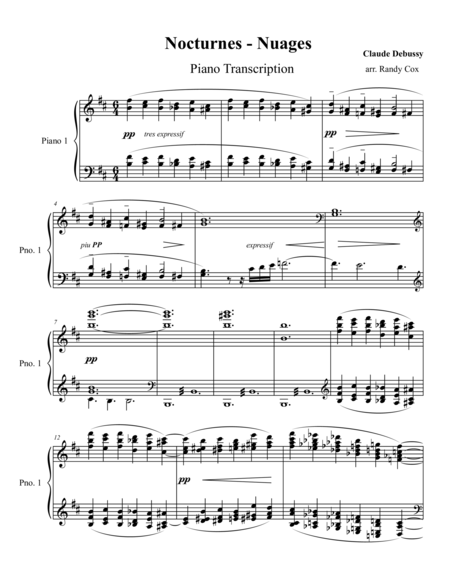 Debussy - Nocturnes: #1 Nuages (piano transcription)
