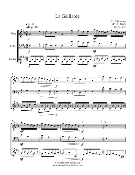 La Gaillarde (Flute, Cello and Guitar) - Score and Parts