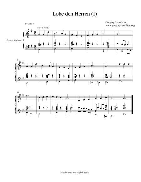 Lobe den Herren - Alternate Harmonization, (2)