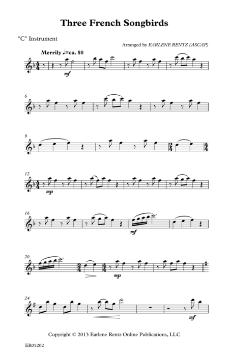 Three French Songbirds - C Instrument