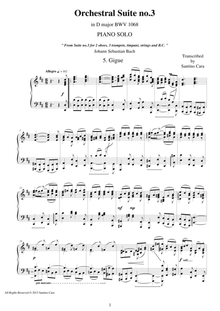 J.S.Bach - Orchestral Suite no.3 in D major BWV 1068 - 5. Gigue - Piano version