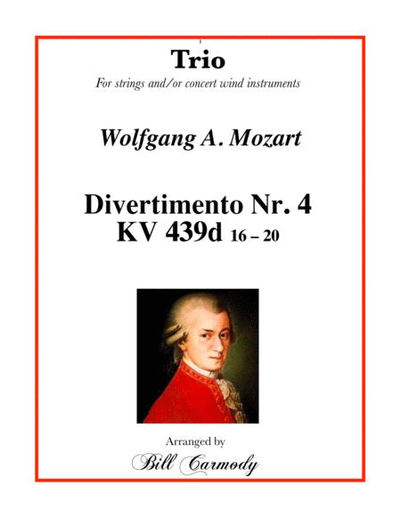 Mozart Divertimento Nr 4 KV 439d (16-20) trio 2 tc, 1 bc (5 mvts)
