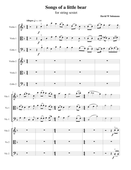 Songs of a little Bear for string sextet (Based on Winnie the Pooh)