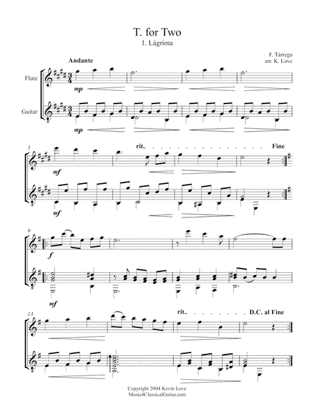 T. for Two (Flute and Guitar) - Score and Parts