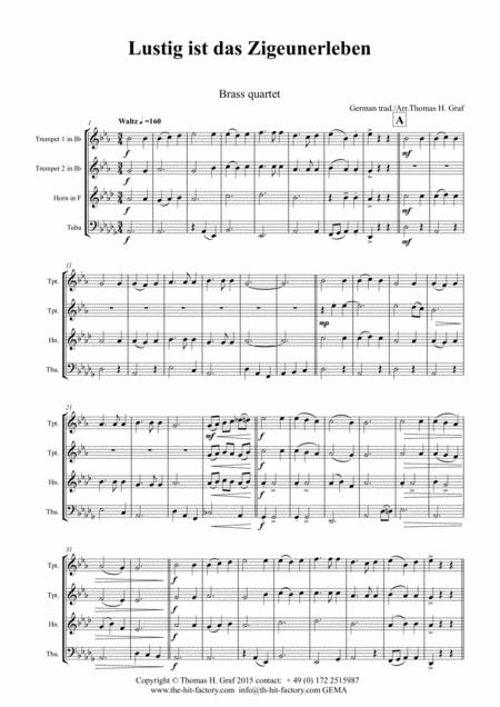 Lustig ist das Zigeunerleben - German Folk Song - Oktoberfest - Brass Quartet