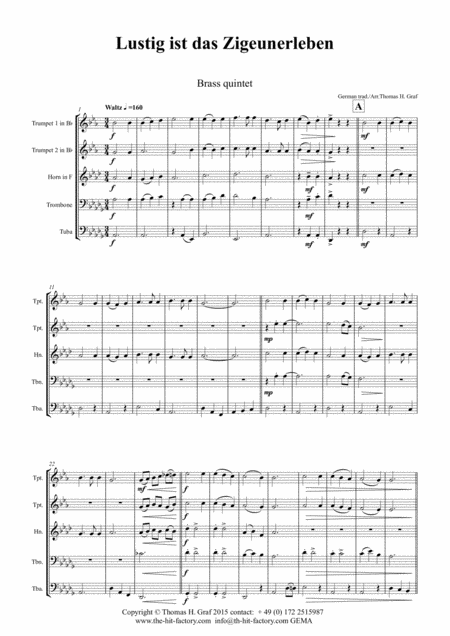Lustig ist das Zigeunerleben - German Folk Song - Oktoberfest - Brass Quintet