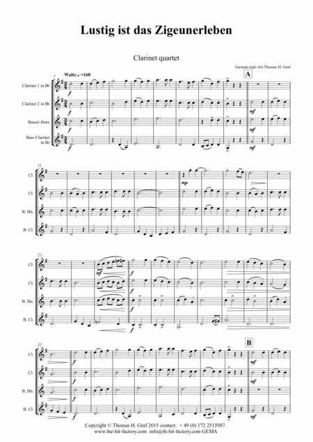 Lustig ist das Zigeunerleben - German Folk Song - Oktoberfest - Clarinet Quartet