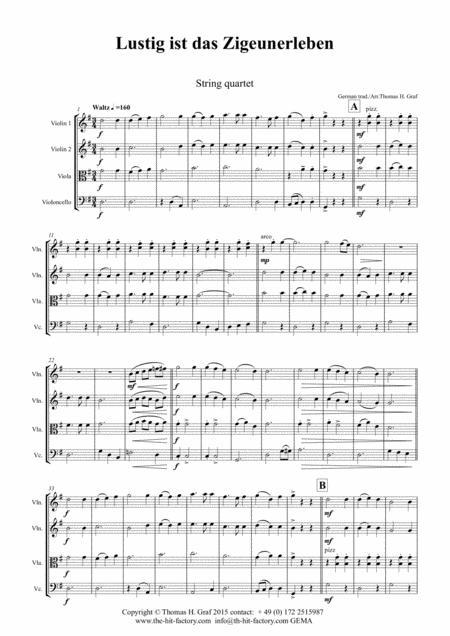 Lustig ist das Zigeunerleben - German Folk Song - Oktoberfest - String Quartet