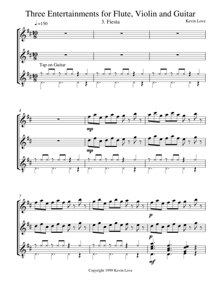 Three Entertainments (Flute, Violin and Guitar) - Fiesta - Score and Parts