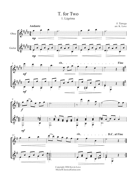T. for Two (Oboe and Guitar) - Score and Parts