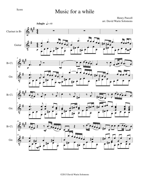 Music for a while for clarinet and guitar