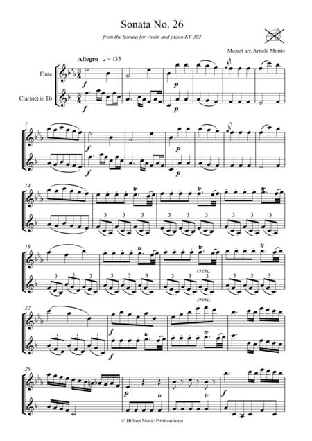 Mozart Sonata No. 26 arr. flute and clarinet