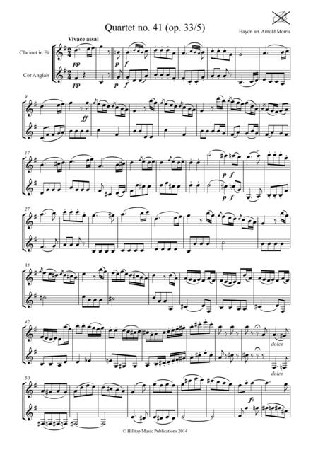 Haydn Quartet No. 41 arranged clarinet and cor anglaise