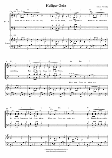 Heiliger Geist (Holy Spirit) for SATB choir and piano (in German)
