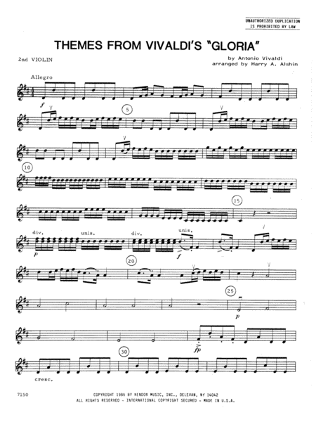 Themes From Vivaldi's Gloria - 2nd Violin
