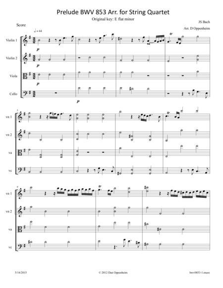 Bach: Prelude BWV 853 arr. for String Quartet