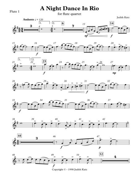 A Night Dance In Rio - for flute quartet - Parts