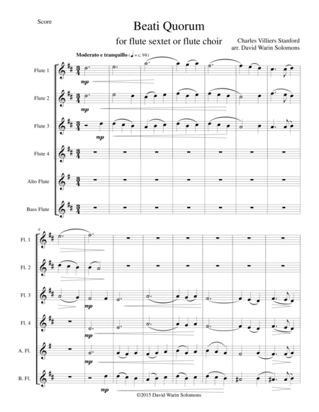 Beati Quorum Via for flute sextet or flute choir