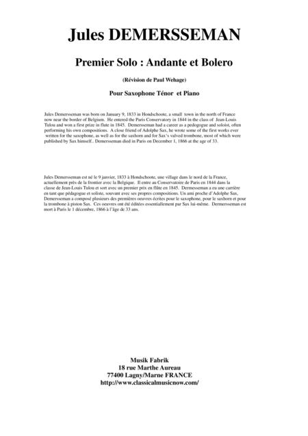 Jules Demersseman : Premier Solo : Andante et Bolero for tenor saxophone and piano