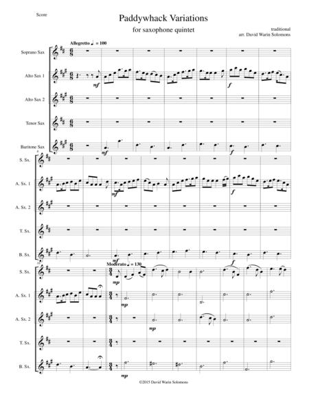Paddywhack Variations for saxophone quintet