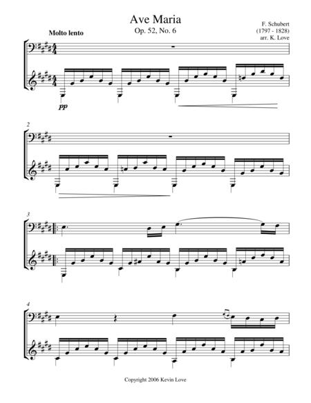 Ave Maria, E Major (Cello and Guitar) - Score and Parts