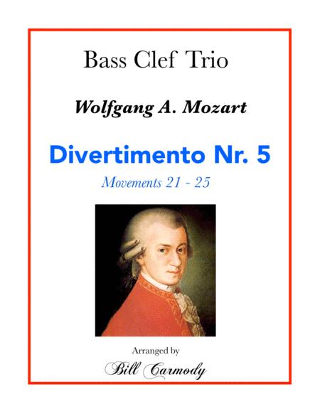 Mozart Divertimento Nr 5 Bass Clef Trio (5 mvts) KV 4393 (21-25)