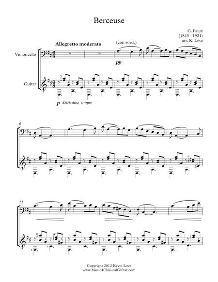 Berceuse (Cello and Guitar) - Score and Parts